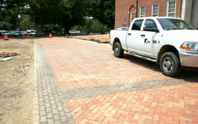 University permeable paver installation goes in during record rainy summer