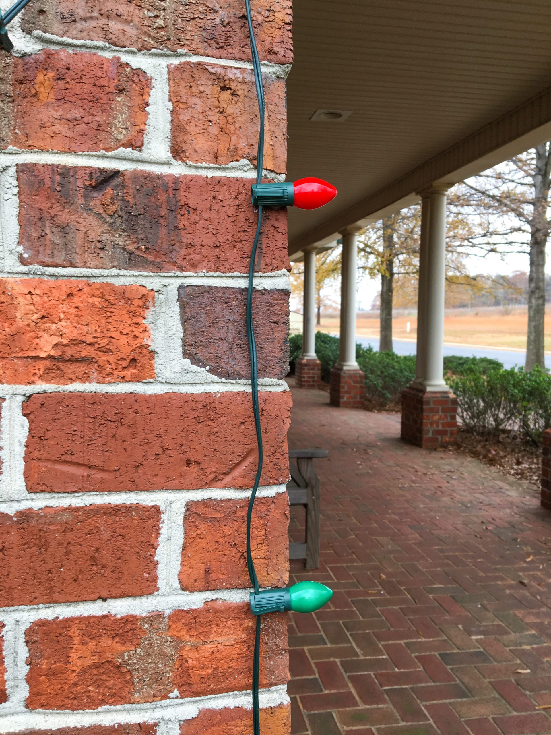 How to hang Christmas lights on brick.