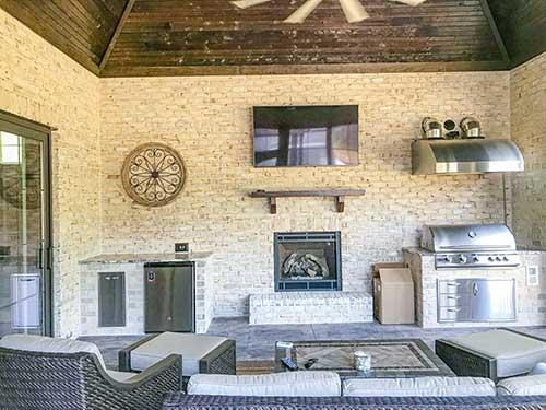 Outdoor kitchen indoors