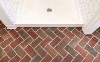 Paver Tiles create a beautiful and functional floor for bath and laundry room