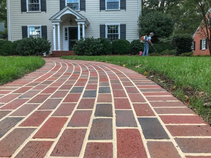 American brick - serpentine paver walkway