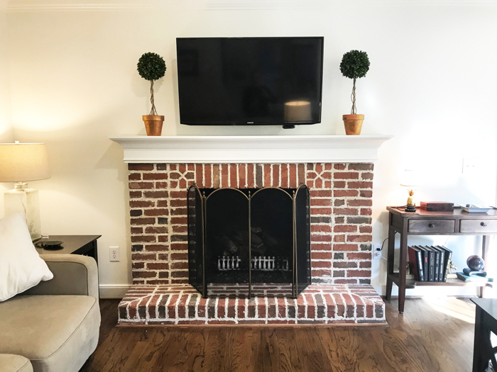 DIY fireplace makeover AFTER photo