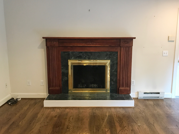 DIY fireplace makeover BEFORE photo
