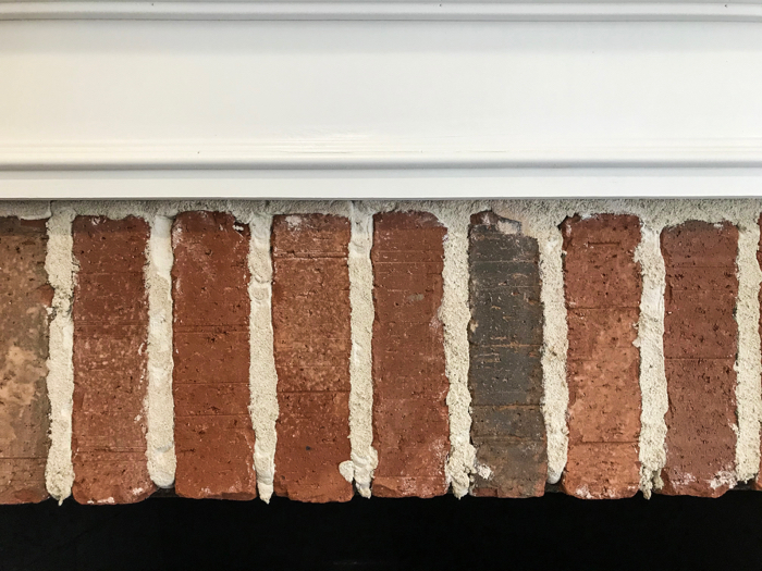 Top of fireplace after brick makeover