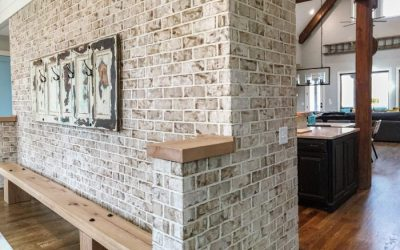 Interior brick accents define open floor plan