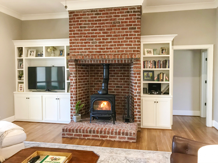 thin brick wood stove surround