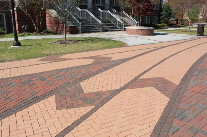 Aesthetic paving using colorful clay pavers.