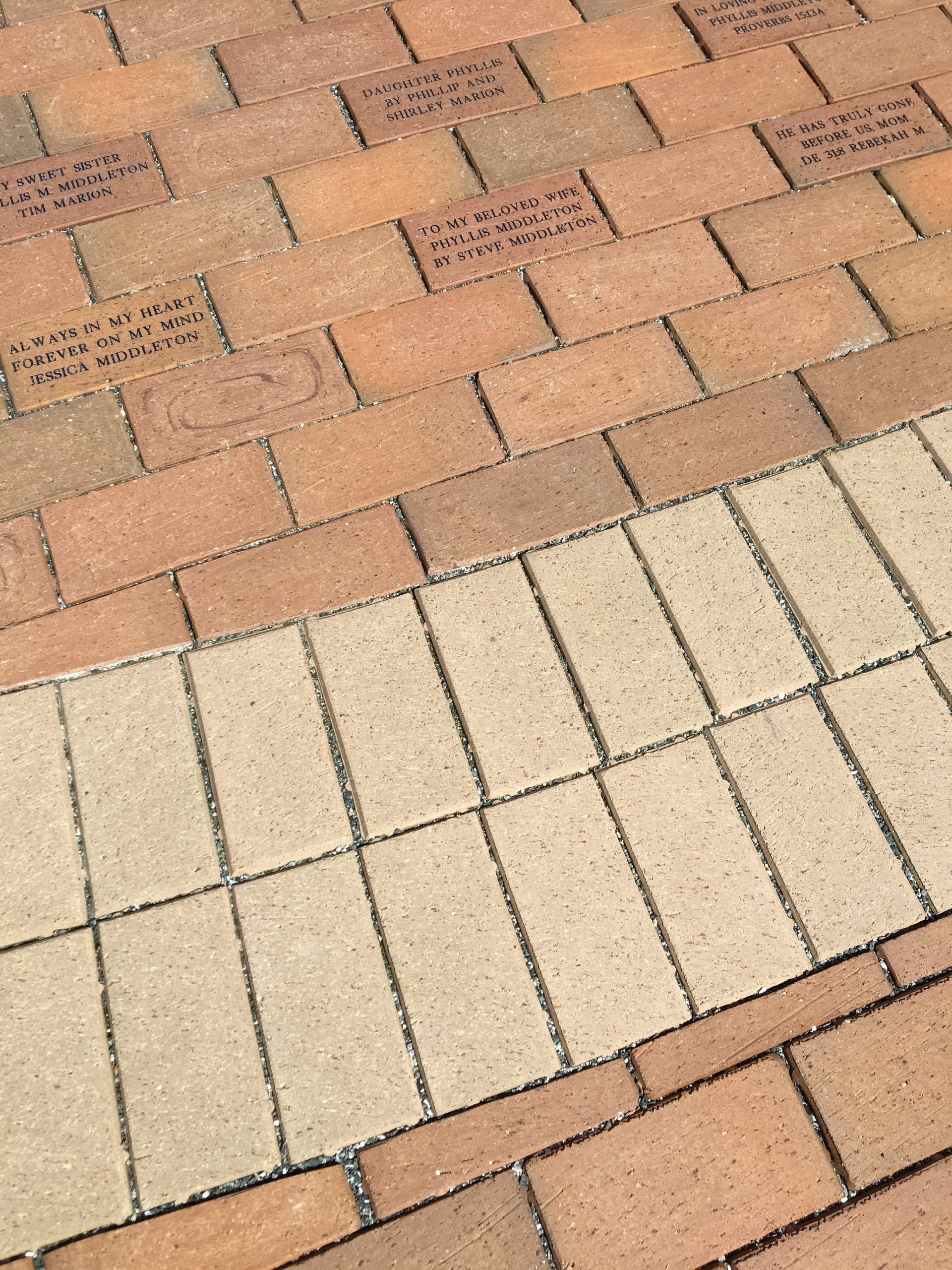 colorfast clay pavers in memorial garden