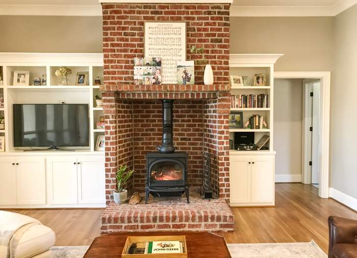 Build a fireplace with thin brick