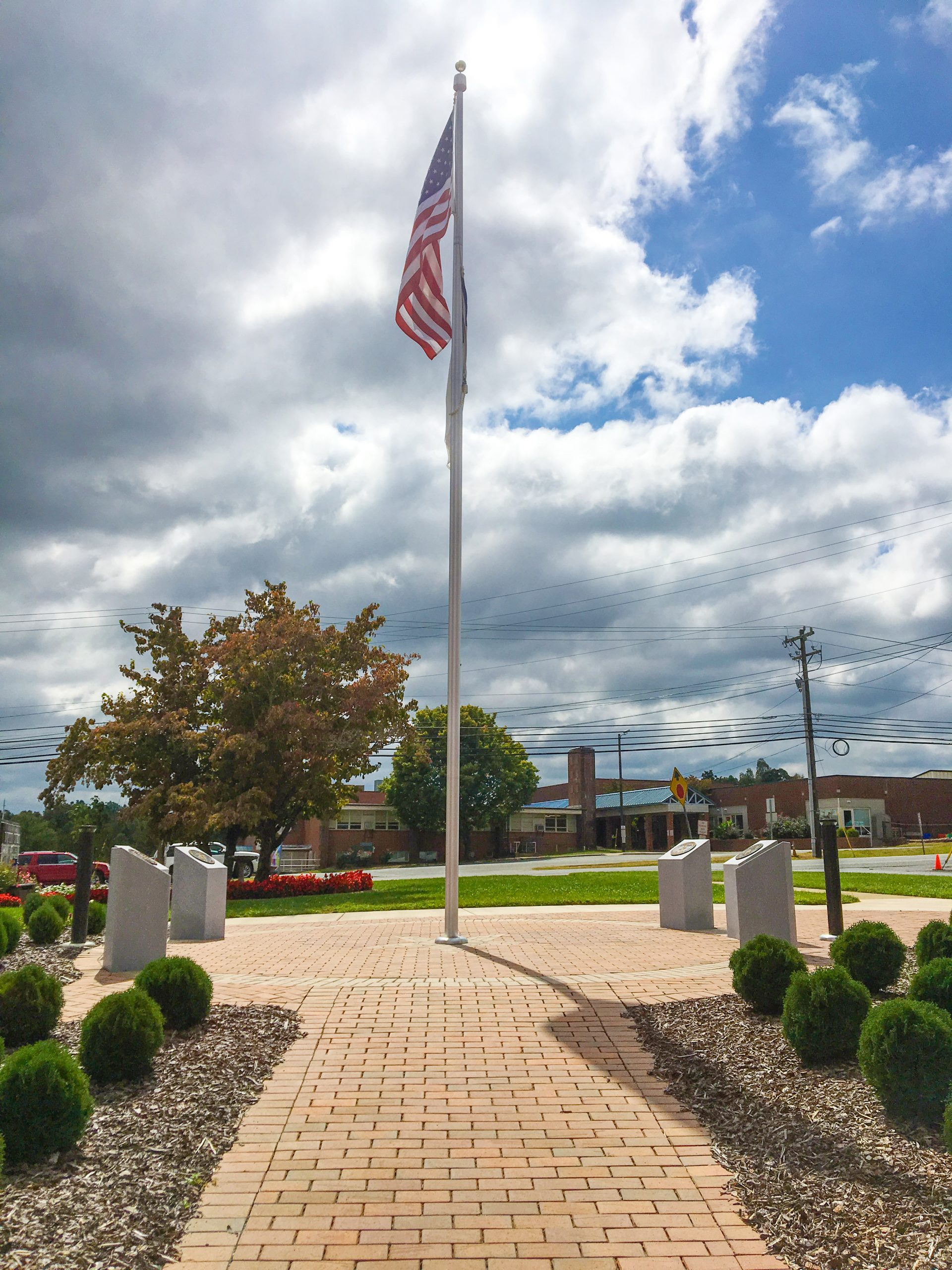 memorial garden pavers and flag