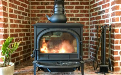 Thin brick wood stove surround looks great, feels toasty