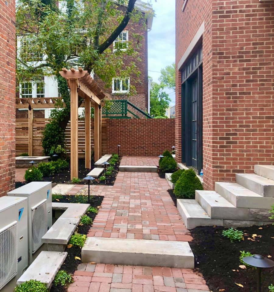 Rumbled paver courtyard on the Ohio River