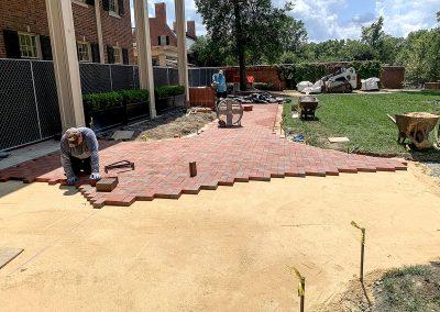 paver patio installation with Pine Hall Brick