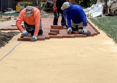 installing clay paver walkway